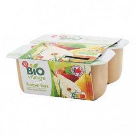 Compote pomme poire bio sans sucres ajoutés x 4 - Bio Village - 400 g