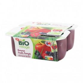 Compotes pomme fruits rouges BIO VILLAGE 4x 100g