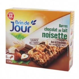 BARRES CEREALES CHOCOLAT AU LAIT NOISETTE BRIN DE JOUR 126GRS