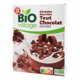 Céréales fourrées tout chocolat, coeur fondant  BIO VILLAGE 375g