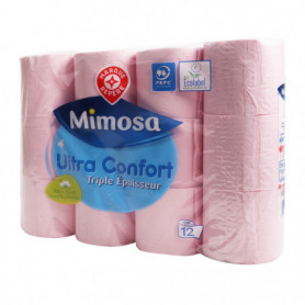 Papier toilette Mimosa Rose 3 plis - x12