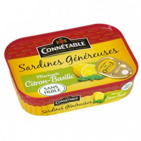 Sardines marinade citron basilic 1/5 sans huile 140g Connétable
