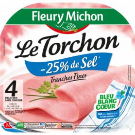 Jambon 4 tr. Fines Le TORCHON Cuit à l'ETOUFFEE S.C., - 25 % de SEL