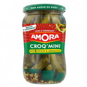 Cornichons Croq'Mini  Aux 6 Epices  Aromates Bocal Amora  205g