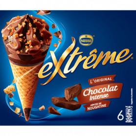 Cônes Extrême X6 Chocolat Intense pépites de Nougatine 426G