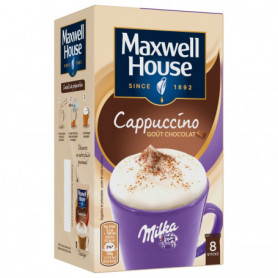 CAPPUCCINO MILKA CAFE SOLUBLE STICKS X 8 MAXWELL HOUSE  176 GR