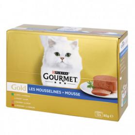 Mousse/Mousseline Pour Chats au Poulet/Lapin/Saumon/Rognon (12x85g) GOLD GOURMET PURINA