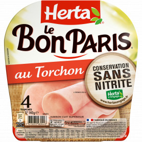 Jambon au torchon Le Bon Paris HERTA  4 tranches - 140 g
