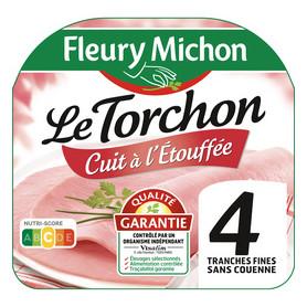 JAMBON TORCHON SANS COUENNE A L ETOUFFE 4 TRANCHES - 160G