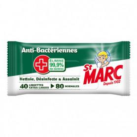 St Marc Lingettes nettoyante Anti-bactériennes x40