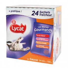 Menus gourmands pour chat Lycat Viandes 24x100g