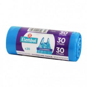 Sacs poubelle Elembal 30L à poignées x20