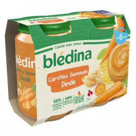BLEDINA POTS SALES Carottes Semoule Dinde 2x200g -Dès 6 Mois