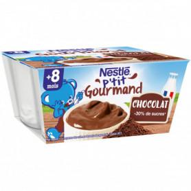 Crème P'TIT GOURMAND Nestlé Chocolat - 4 x 100g - Dès 8 mois