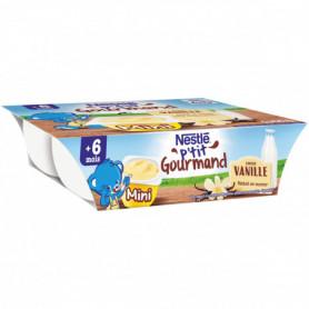 Créme  P'TIT GOURMAND Nestlé Mini Saveur Vanille - 6 x 60g - Dès 6 mois