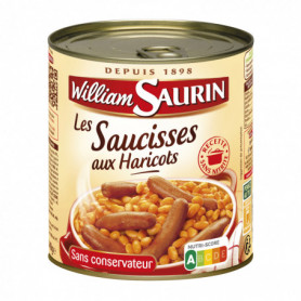 SAUCISSES HARICOTS 4/4 WILLIAM-SAURIN 840 GRS