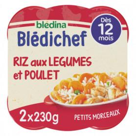 BLEDICHEF 2x230g Riz aux Légumes et Poulet  - Dès 12 mois