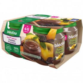 BLEDINA POT FRUITS 4x130g Pommes Pruneaux  - Dès 4/6 mois