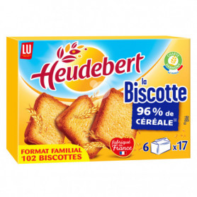 Biscottes Nature x102 Heudebert LU 830grs