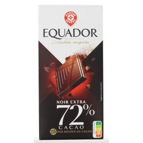 CHOCOLAT NOIR 72% CACAO - EQUADOR- 100G