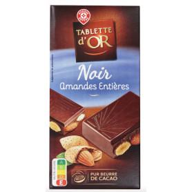 CHOCOLAT NOIR AMANDES ENTIERE TAB OR 200G