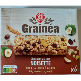 BARRES CEREALES CHOCOLAT LAIT NOISETTE AUX 4 CEREALES X6